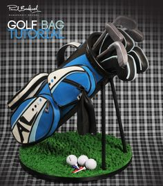 """Golf Bag Video Tutorial"" This cake is perfect for any of your golf loving family members, friends or clients! Learn how to make a golf bag cake with expert video tuition from top cake decorator Paul Bradford. Join now to access of free lessons. Golf Themed Cakes, Golf Birthday Cakes, Birthday Gifts, Theme Cakes, 65th Birthday, Birthday Wishes, Golf Party Favors, Golf Party Decorations, Cake Decorating Courses"