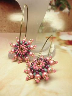BABY PINK Beaded Bead Brass Hoop Earwire Earrings by dharajewelry
