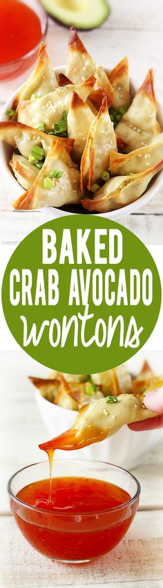 Add a little Asian flare to your dinner tonight with these oven baked crab avocado wontons. Wonton Recipes, Avocado Recipes, Seafood Recipes, Appetizer Recipes, Cooking Recipes, Italian Appetizers, Healthy Snacks, Healthy Eating, Healthy Recipes