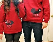 Mickey Mouse and Minnie Mouse Couples Sweatshirts www.magicshirtsrus.com $25.00 each