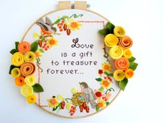 extra large vintage embroidery hoop art  14 by raisinguprubies, $58.00