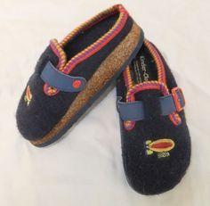 Kinder Clog 28 Boy Girls Wool Slip-on Shoes Navy Blue Rockets Cork Sole German