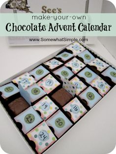 Chocolate Christmas Advent Calendar using YUMMY See's Candies. Plus free printable activities to do with your family each night as you Countdown to Christmas fromw www.SomewhatSimple.com #advent #candy #christmas