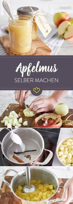 So schmeckt dein Apfelmus wie von Oma – das Grundrezept Too far to spoon fresh applesauce at grandma's? Then take the fruit in your own hands and cook a glass – it tastes like it used to! Sweet Recipes, Cake Recipes, Vegetable Drinks, Croissants, Food Menu, Sauce, Cakes And More, Diy Food, Vegan Desserts