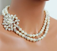 Bridal Necklace, Cream Pearl Wedding Necklace, Rhinestone Pearl Bridal Necklace, Vintage Style, Mother of the Bride -  FREE SHIPPING