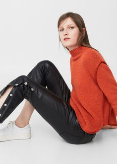 Side snaps trousers | MANGO