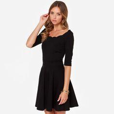 Elegant Dress Slim A-line Dress With Wave Neck High Waist Dress For Women