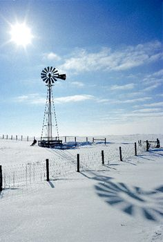 windmill in winter Tilting At Windmills, Old Windmills, Fine Art Photography, Travel Photography, Nature Photography, Farm Windmill, Country Scenes, Water Tower, Old Barns