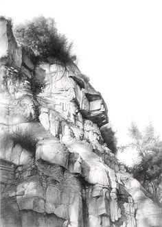 "carlos castillo seas - ""pared natural""(pencil and graphite powder on paper) Landscape Drawings, Cool Landscapes, Landscape Paintings, Graphite Drawings, Drawing Sketches, Art Drawings, Sketching, Pencil Drawings For Beginners, Realistic Drawings"
