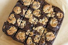 Brownies studded with chocolate chip cookies...oh, my! two worlds collide...bakedperfection.com