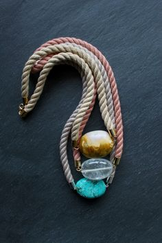 Rope and gemstone necklaces with marble, quartz and turquoise nuggets