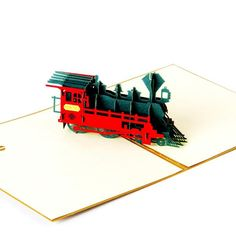 3D Pop Up Greeting Card - Vintage Train - INPCreative - 2