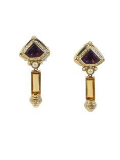 1980s Rhinestone Earrings, Clip On, Purple Crystal, Citrine Yellow, Faux Pearl, Runway Earrings, Statement Earrings, High End Earrings by VintageGemz on Etsy