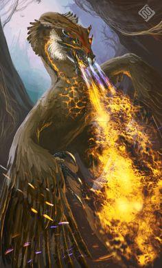 Kind of feathered dragon by MiryAnne.deviantart.com on @DeviantArt