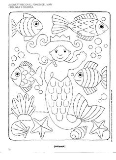 Worksheet Fine Motor Skills: Tracing Underwater World . Just trace the dotted lines and color in. Preschool Writing, Preschool Worksheets, Preschool Activities, Pre Writing, Writing Skills, Motor Activities, Fine Motor Skills, Colouring Pages, Pre School