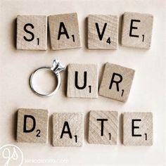 Save the Date scrabble tile photo idea. #SaveTheDate #WeddingInvitations