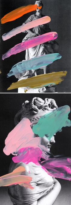 paint on laser print, by Chad Wys (2012) | Could do something inspired by this for our house