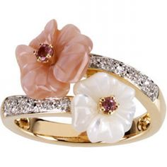 Pink Tourmaline, Mother of Pearl & Diamond Ring | Aston Royal