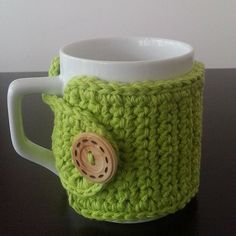 Crochet Cotton Coffee Cup Cozy in Green by NandysNook on Etsy