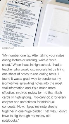 Condense notes into something quick and easy to read and write it in your own words. School Life Hacks, College Life Hacks, School Study Tips, College Tips, School Tips, College Success, College Essentials, Dorm Life, Online College