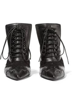 cdc4b44ba24a Givenchy - Cutout ankle boots in black leather and lace