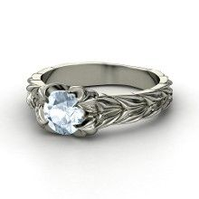 Round Aquamarine Platinum Ring... I am not usually into jewelry...but this is beautifully made!