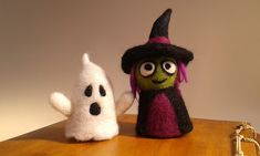 Needle Felted Halloween Trick or Treat Character Set. OOAK Fantasy Art Halloween Decorations, Needle Felting, Needle Felting Ideas, Needle Felted Witch, Ghost.