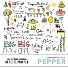 INSTANT DOWNLOAD  Birthday Party Clipart Set  Hi by PepperStudio