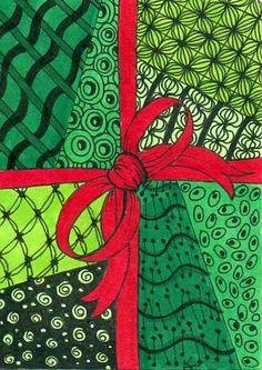 christmas zentangles   ATC Christmas Zentangle swap