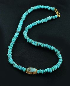 PERSIAN TURQUOISE NECKLACE 18K GOLD CENTERPIECE BEAD from New World Gems