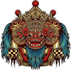 'Barong Mask King of the spirits Bali Mythology' Art Print by wasssu Barong Bali, Mayan Tattoos, Custom Harleys, Oriental, Canvas Prints, Art Prints, Objet D'art, Dragon Art, Balinese