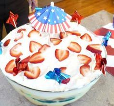"""Patriotic Trifle: """"DELISH! Very decadent cream filling, yet light thanks to the angel food cake and fruit. Perfect combo!"""" -Sisty Gin"""