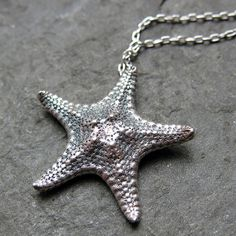 Silver starfish necklace  recycled sterling silver  by metalicious, $86.00