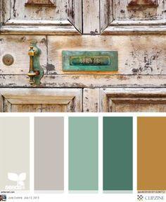 Turquoise + gray + rust.