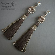 Long tassel earrings Chocolate earrings with by RitaLovelyBeads