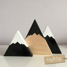 Nursery Decor, Home Decor, Painted Wooden Mountains Set with pine mountain feature, kids decor, Scandinavian decor, baby gift - custom made