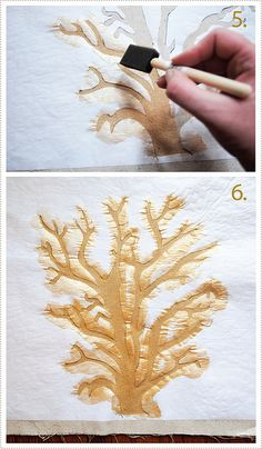 DIY coral stencil for pillow. Tutorial.