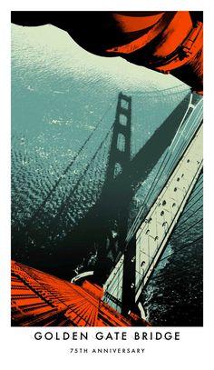0d2ff8841 Golden Gate 75th Anniversary illustrations Paisagens, Cartaz, Desenhos E  Ilustrações, Cartazes De Design