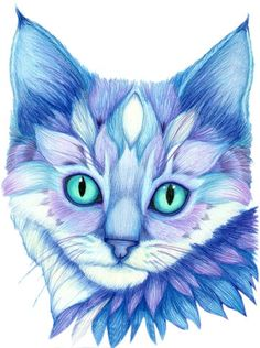 Blue Mosaic Cat Face