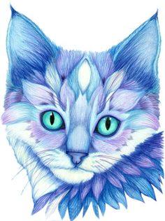 Blue Mosaic Cat Face