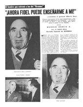 Facsimil de la página donde se entrevista  Alberto Bayo Giraud, el hombre que entreno a los expedicionarios  del Granma
