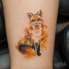 Painted fox tattoo by Tattooist River More