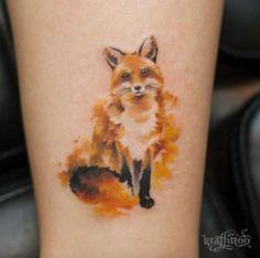 Painted fox tattoo by Tattooist River