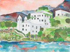 Villa on the Lake  Watercolor