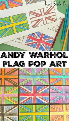 Andy Warhol for kids- Art Project - Flag Pop Art (can use for flags around the world) Diy Art Projects, Projects For Kids, Andy Warhol, Elementary Art, Elementary Education, Teaching Art, Teaching Ideas, Art Activities, Art Music