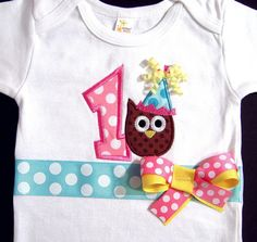 First Birthday Owl Bodysuit Girl Birthday Pink Brown by Whimsy Tots Boutique, $34.50