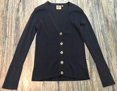 Tory Burch Shrunken Simone Cardigan Sweater Logo Buttons Navy Blue Womens Sz M*  | eBay