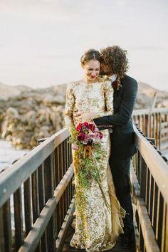 Metallic Glitter Long Sleeves Wedding Dresses / http://www.deerpearlflowers.com/glitter-wedding-ideas-and-themes/