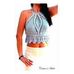 Rimini Blue Crochet Top Summer Halter Top Boho Crochet Crop Tank... ($149) ❤ liked on Polyvore