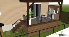 Personalized design of a small patio with a composite privacy wall for . Patio Slabs, Gravel Patio, Cement Patio, Patio Flooring, Patio Bar, Patio Roof, Pergola Patio, Pergola Ideas, Gazebo